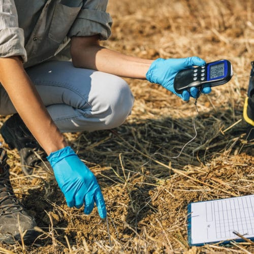 A scientist using an instrument in the soil.