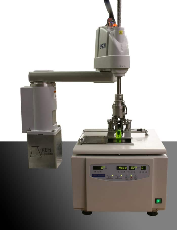 Fully automated centrifuge homes the rotor to a precise location, and then advances to every tube position with accuracies of ±0.1mm in the X- and Y-dimensions.