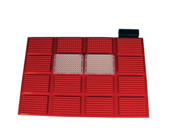 This is our 16-position microtiter plate heater custom robotics block