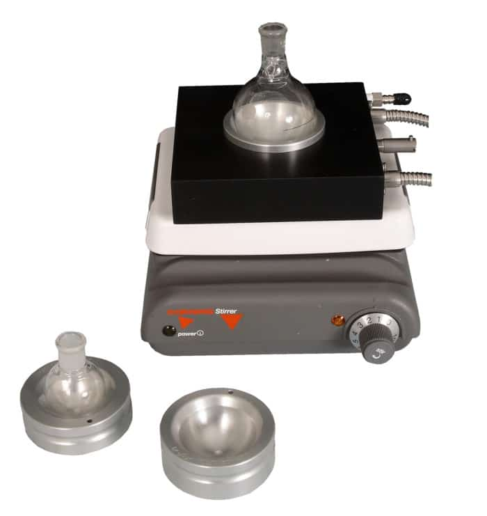 Heated and Cooled Block fit round-bottom flask inserts for 25-100mL flasks